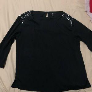 H&M black embellished long sleeve top
